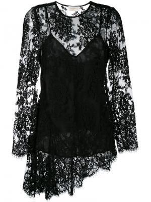 Асимметричная кружевная блузка Zimmermann. Цвет: чёрный