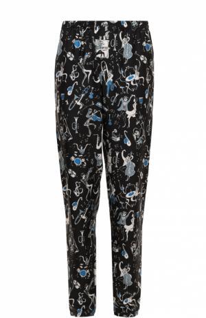 Шелковые домашние брюки с принтом Dolce & Gabbana. Цвет: синий