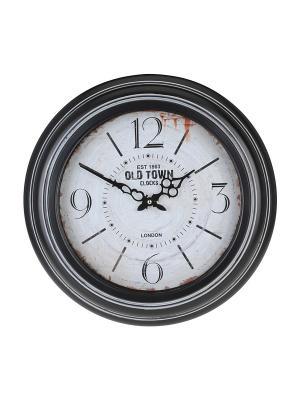 Часы настенные Old town clocks в черной оправе круглые (45 см) NAST238 Mitya Veselkov. Цвет: белый, черный