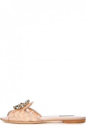 Кружевные шлепанцы Bianca с брошью Dolce & Gabbana. Цвет: оранжевый