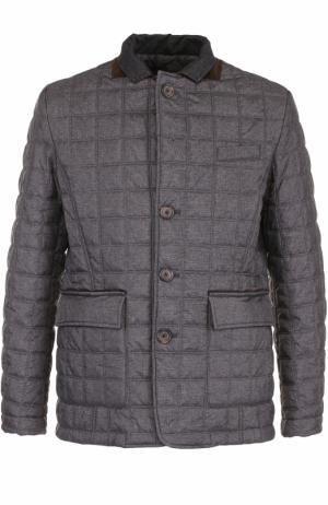 Утепленная стеганая куртка на пуговицах Paul&Shark. Цвет: темно-серый