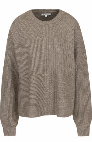 Шерстяной свитер свободного кроя с круглым вырезом Helmut Lang. Цвет: бежевый