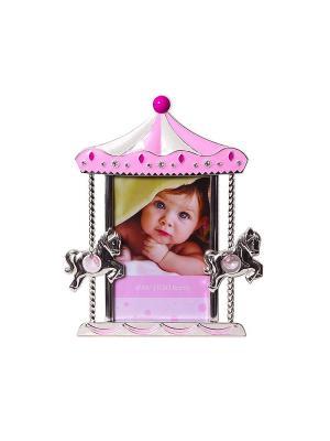 Фоторамка карусель с лошадками, розовая, металлическая со стразами, формата 10х15см PLATINUM quality. Цвет: розовый