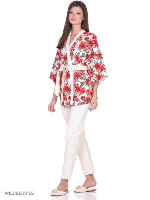 Комплект домашней одежды ( халат,брюки) HomeLike. Цвет: красный, молочный