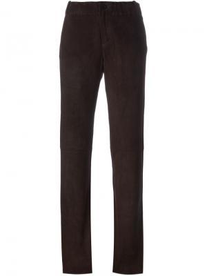 Замшевые брюки кроя буткат Stouls. Цвет: коричневый
