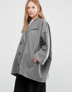 Cooper & Stollbrand Серое короткое двубортное пальто в стиле oversize. Цвет: серый