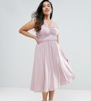 ASOS Curve Платье миди с V-образным вырезом и присборенной отделкой WE. Цвет: фиолетовый