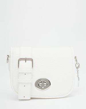 Marc B Небольшая седловидная сумка. Цвет: белый