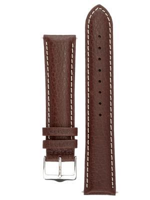 Гипоаллергенный ремешок для часов из кожи теленка с фактурой под буйвола, Ширина от 14 до 24 мм, Signature. Цвет: коричневый