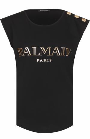 Топ без рукавов с металлизированным логотипом бренда Balmain. Цвет: черный