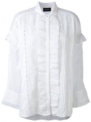 Рубашка с вышивкой и оборкой The Kooples. Цвет: белый
