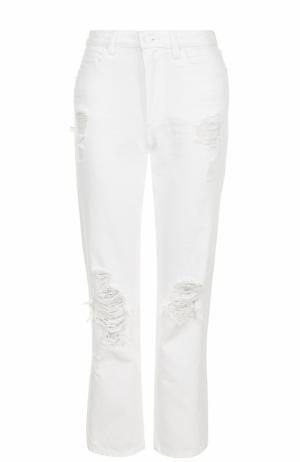 Укороченные расклешенные джинсы с потертостями T by Alexander Wang. Цвет: белый