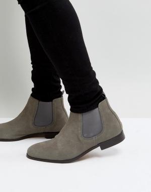 Pier One Серые замшевые ботинки челси. Цвет: серый