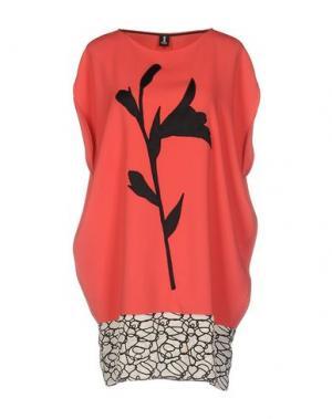Короткое платье 1-ONE. Цвет: коралловый