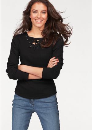 Кофточка с длинными рукавами Aniston. Цвет: черный