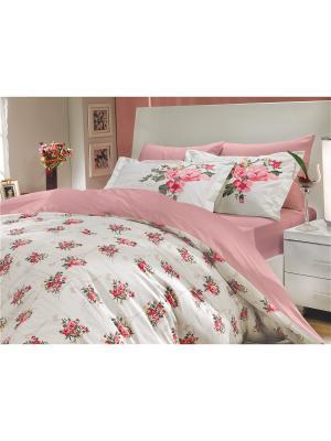 Кпб 1,5 сп. (Евро) поплин PARIS SPRING розовый HOBBY HOME COLLECTION. Цвет: розовый