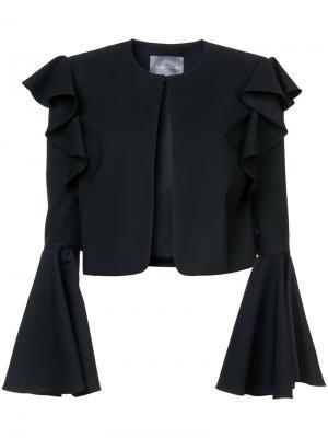 Укороченный пиджак с рукавами-колокол Monique Lhuillier. Цвет: чёрный