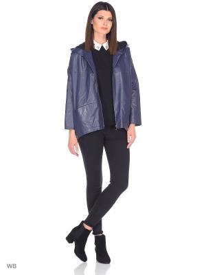 Кожаная куртка Adamo.. Цвет: темно-синий