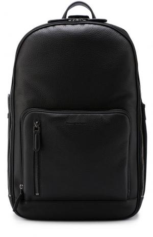 Кожаный рюкзак с внешним карманом на молнии Ermenegildo Zegna. Цвет: черный