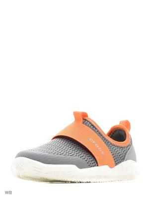 Кроссовки CROCS. Цвет: серый, оранжевый