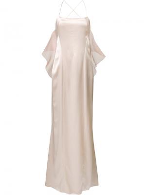 Вечернее платье с открытой спиной Galvan. Цвет: телесный