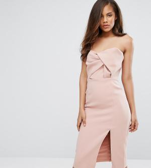 True Decadence Tall Платье миди бандо с большим бантом. Цвет: розовый