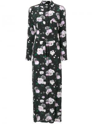 Платье макси с цветочным принтом Equipment. Цвет: чёрный