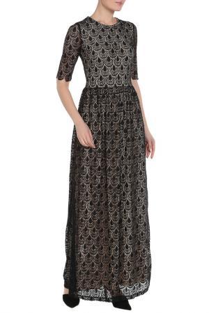 Полуприлегающее платье с короткими рукавами La Reine Blanche. Цвет: черный