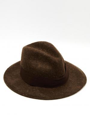 Catarzi Мягкая фетровая шляпа с широкими полями. Цвет: коричневый