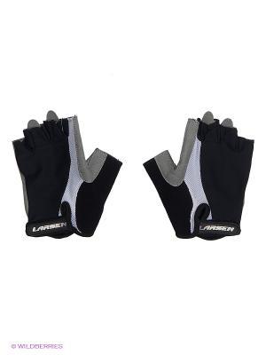Велоперчатки Larsen. Цвет: черный, серый