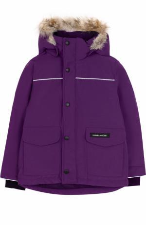 Пуховая куртка Lynx с меховой отделкой на капюшоне Canada Goose. Цвет: фиолетовый