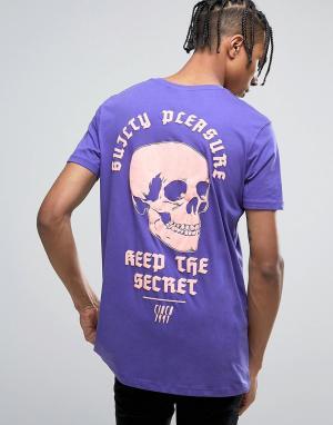 ASOS Удлиненная футболка с принтом. Цвет: фиолетовый