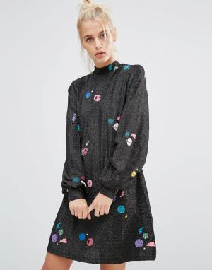 Lazy Oaf Свободное платье с высокой горловиной Sparkly Space. Цвет: черный