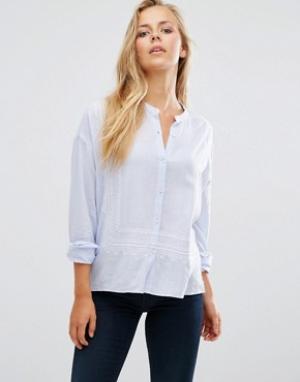 Maison Scotch Легкая рубашка с вышивкой. Цвет: белый