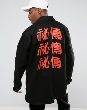 Vision Air Черная куртка в стиле милитари с принтом на спине и декоративными лент. Цвет: черный