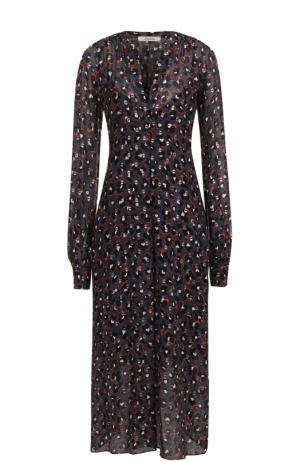 Шелковое платье-миди свободного кроя Dorothee Schumacher. Цвет: разноцветный