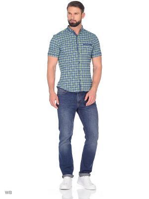 Рубашка AMATO. Цвет: синий, салатовый