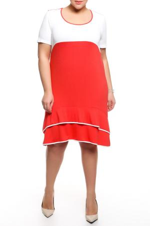 Платье Forus. Цвет: белый, коралловый