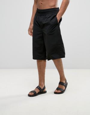 ASOS Длинные шорты для плавания с широкими штанинами. Цвет: черный