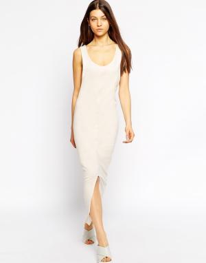 Tired Of Tokyo Трикотажное платье макси с асимметричным подолом. Цвет: кэмел