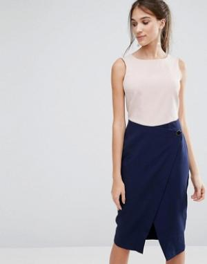 Closet London Платье с контрастной юбкой запахом на пуговице. Цвет: мульти