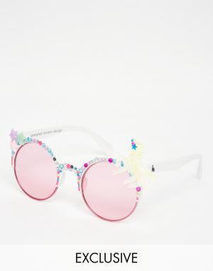 Spangled Солнцезащитные очки в белой оправе с единорогом