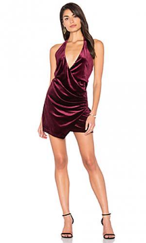 Бархатное мини платье atlantic city LIONESS. Цвет: красное вино