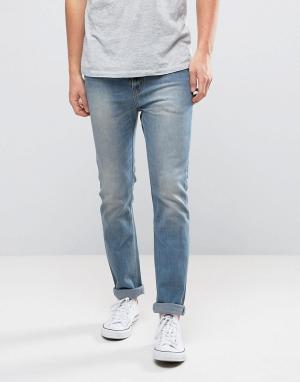 WESC Синие выбеленные джинсы слим Eddy. Цвет: синий