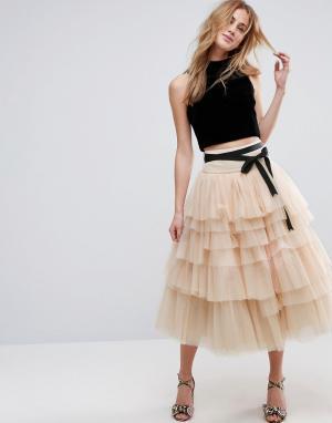 ASOS Ярусная юбка миди для выпускного из тюля с поясом. Цвет: розовый