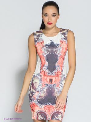 Платье Eunishop. Цвет: белый, темно-фиолетовый, коралловый