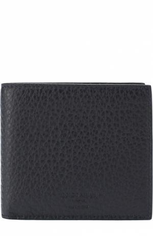 Кожаное портмоне с отделениями для кредитных карт и монет Giorgio Armani. Цвет: темно-синий