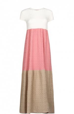 Вязаное приталенное платье-макси с круглым вырезом Tak.Ori. Цвет: бежевый