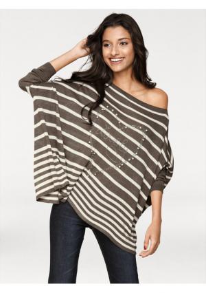 Пуловер PATRIZIA DINI. Цвет: серый меланжевый/экрю, темно-синий/экрю