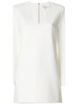 Платье со структурированными рукавами Tibi. Цвет: белый